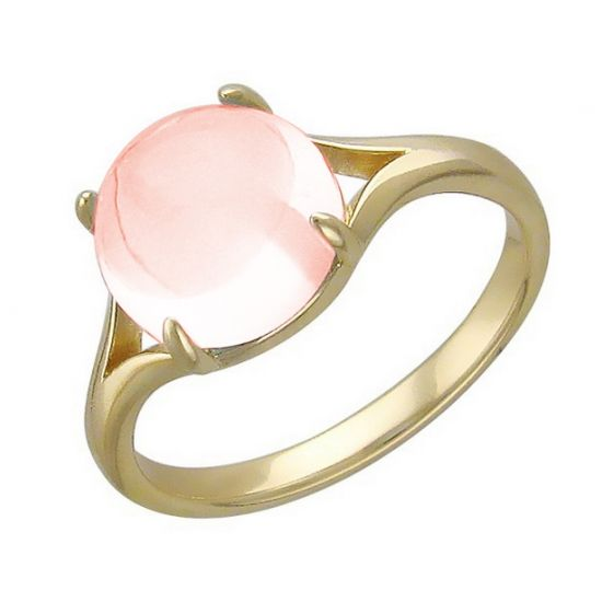 Трогательное кольцо с розовым кварцем из желтого золота 01К336193