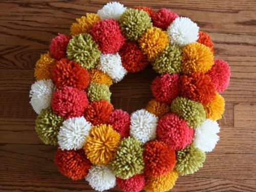 yay pom pomsThanksgiving Wreaths, Christmas Wreaths, Pom Poms, Pompom, Front Doors, Fall Wreaths, Yarns Pom Pom, Pom Pom Wreaths, Yarns Wreaths