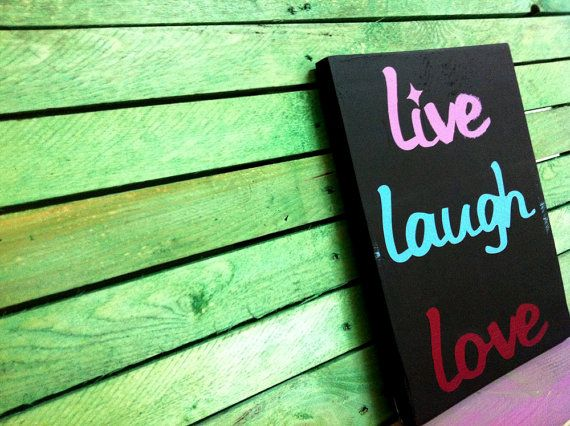 Wood Sign LIVE LAUGH LOVE home decor wall decoration by svetulka, $37.00
