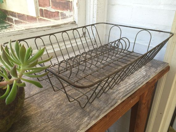 Heavy wire Dish Rack Drying Rack Dish Drainer Vintage Kitchen