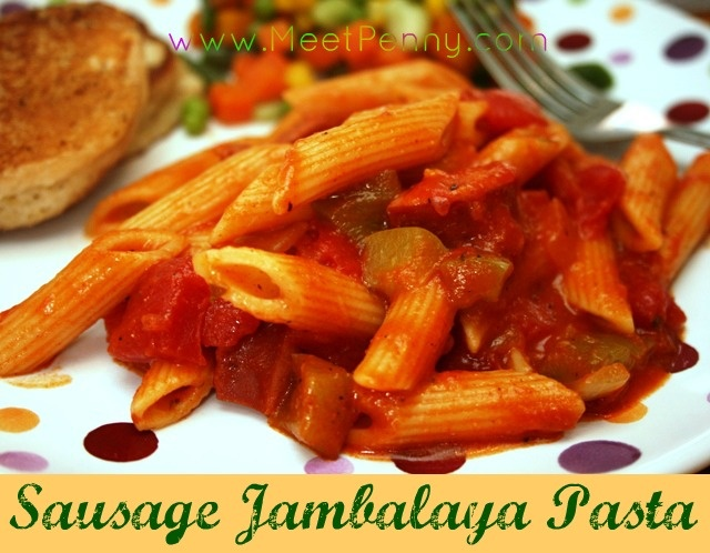 Sausage Jambalaya Pasta ~ All the flavor of a jambalaya in a pasta dish. Could be made with chicken or seafood.