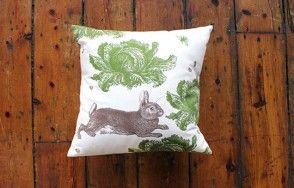 Rabbit and cabbage cushion www.waringsathome.co.uk