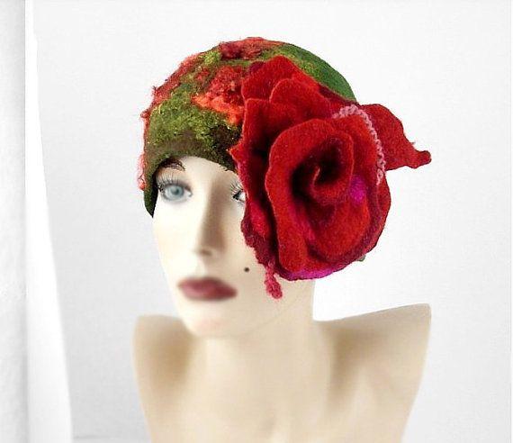 Designer Hat Felted Hat Cloche hat Art Hat Flapper hat Art deco hat Rose Retro hats Felt Nunofelt Nuno felt la belle epoque on Etsy, $199.00