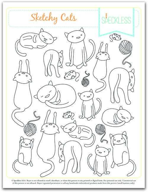 Sketchy Cats embroidery patterns by Speckles.
