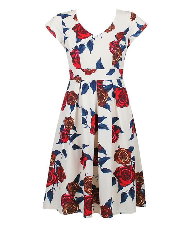Look what I found on #zulily! Cream Talia Fit & Flare Dress by Darling #zulilyfinds