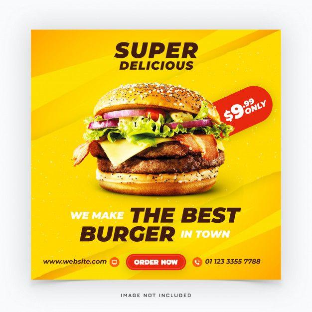 Fast Food Burger Social Media Banner Food Burger Bio Food