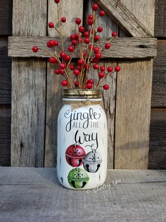 Jingle All The Way Hand Painted Quart Ball Perfect Mason Jar Christmas Mason Jar Jingle All The Way Christmas Mason Jars Christmas Jars Painted Mason Jars