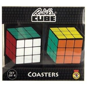 Nerdy Gifts Rubik's Cube Coasters Set of 4 Protect All Coffee/Bar Tabletops from getting Scratched or Damaged Durable Reusable Easy to Clean Dishwasher safe.