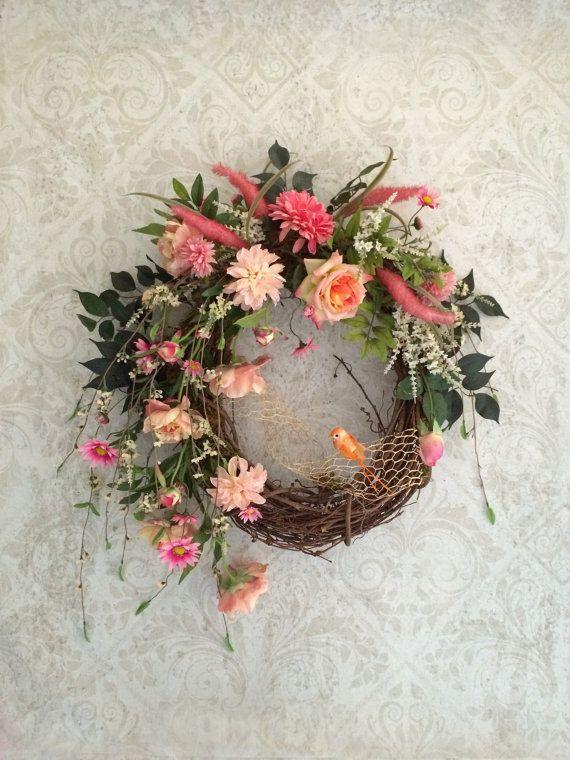 Spring Wreath, Easter Wreath, Silk Floral Wreath, Valentines Day Wreath, Spring Door Wreath, Valentine Wreath, Grapevine Wreath, Bird, Etsy on Etsy, $145.00
