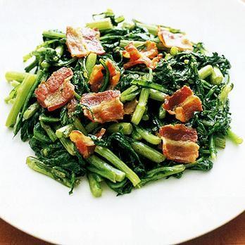 春菊とベーコンの炒めもの   藤野嘉子さんの炒めものの料理レシピ   プロの簡単料理レシピはレタスクラブニュース