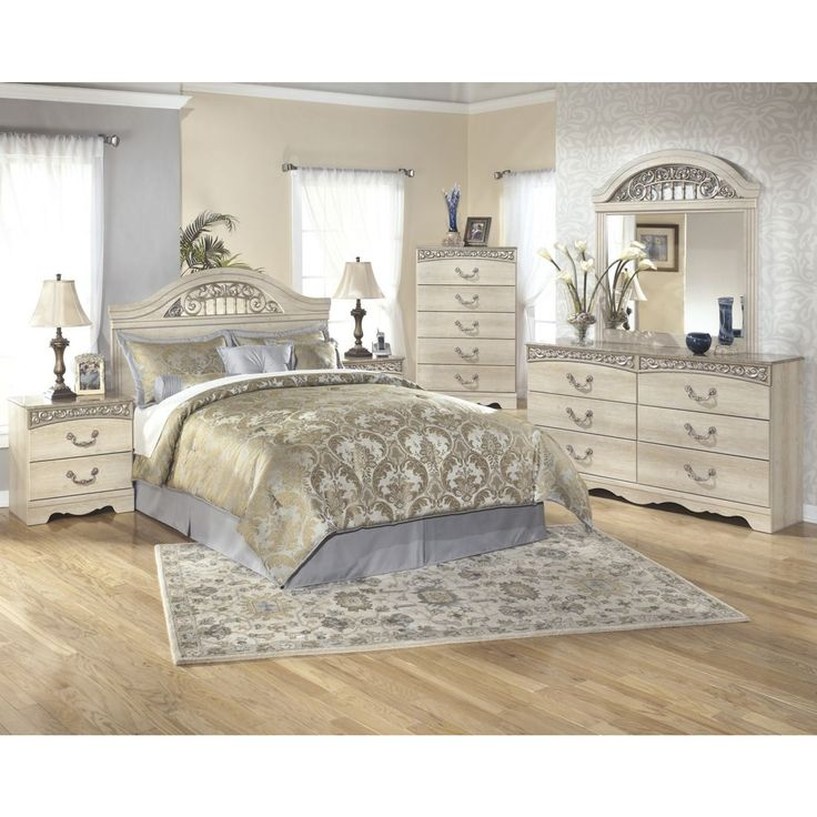 Ashley Furniture Catalina Panel Bedroom Set in Antique White ...