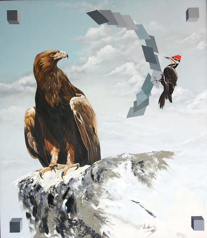 Majestuosa ave al acecho 116 cm x 110 cm Oleo-Lienzo 2008 4000€ #arte #art #cuban #CesarIvan