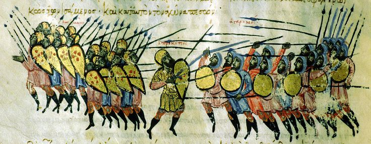 The foot soldiers of Emperor Basil I, distinguished by their long shields, deserting their general in the face of hostile Arab forces who carry round shields. The Byzantine general, Procopius, is killed.