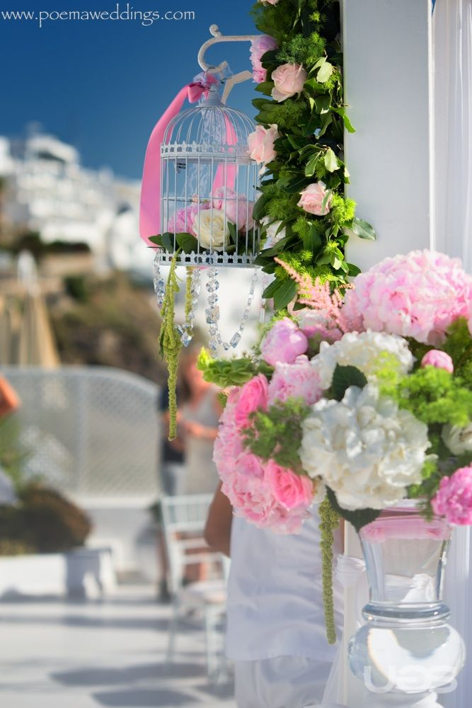 Wedding Planning by Poema Weddings & Special Events www.poemaweddings.com I Flower Design & Deco by Wedding Wish I Wedding Venue @ Dana Villas I Vintage pink romantic Santorini Wedding for our Serena & Antonio