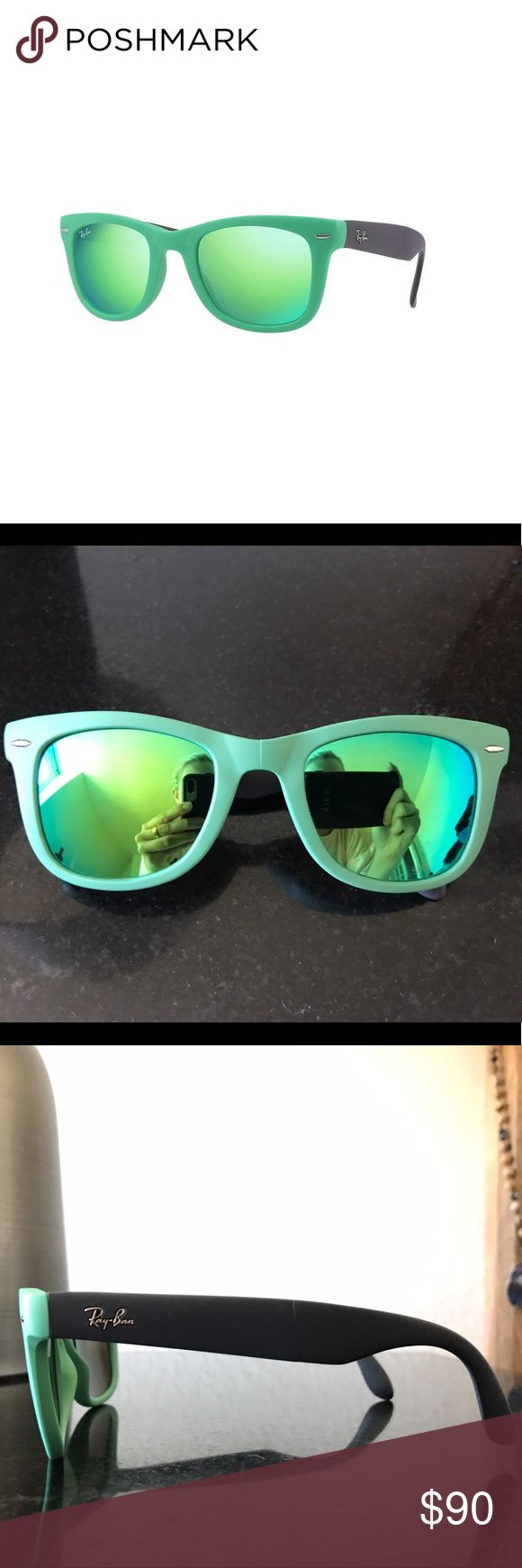 Ray-Ban Wayfarer Green Folding Flash Lenses Green, non-polarized folding wayfarer flash lenses, case included, *small crack on right nosepiece (fourth photo)* Ray-Ban Accessories Sunglasses