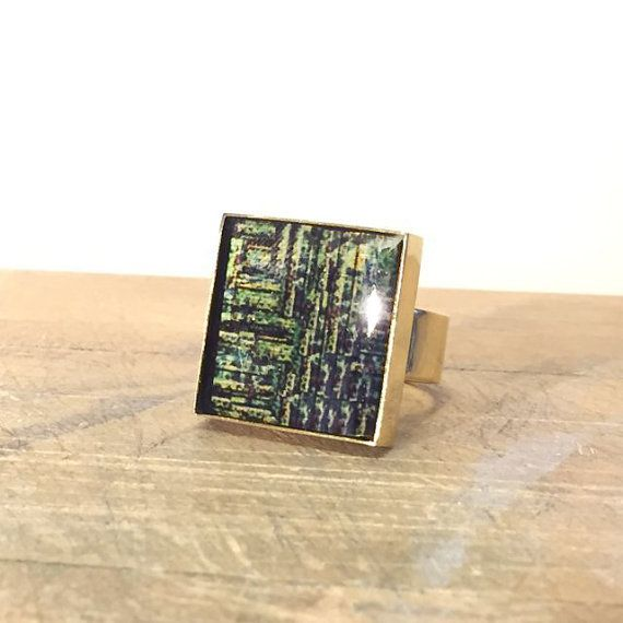 Square Chunky Ring - Abstract Bezel Ring - Mixed Metal Ring - Brass Statement Ring - Abstract Rectangle Ring - Sku JDR-204