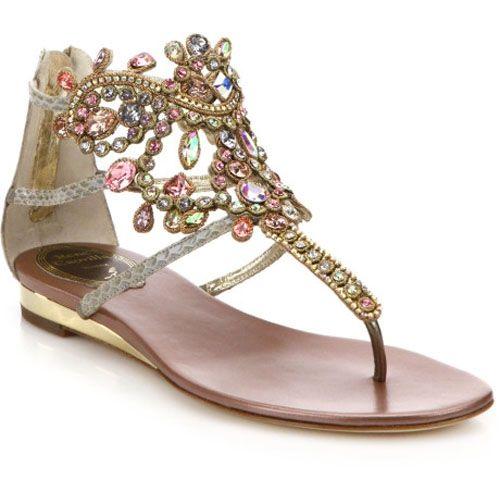 Rene Caovilla Gold Swarovski Crystal-Embellished Snakeskin Sandals
