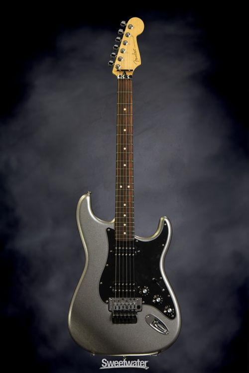 Fender Blacktop Strat - Floyd Rose Titanium Silver   Sweetwater.com   Solidbody Electirc Guitar with Alder Body, Maple Neck, Rosewood Fingerboard, Two Humbucking Pickups, and Floyd Rose Tremolo - Titanium Silver