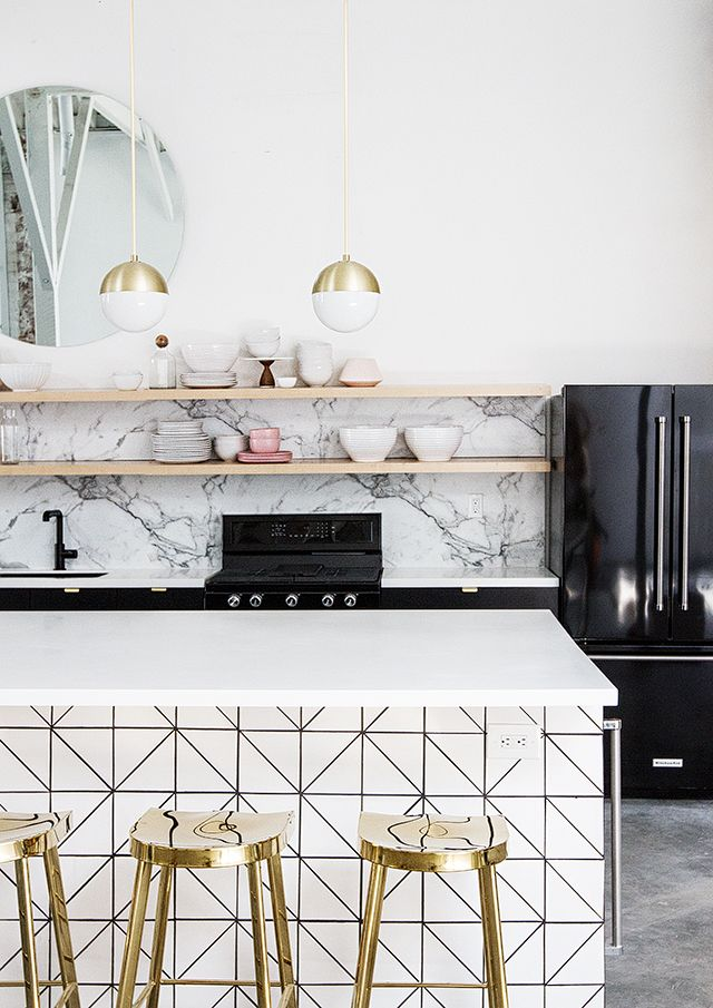 Modern White And Black Kitchen best 25+ gold kitchen ideas only on pinterest | marble countertops