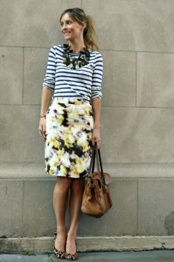 striped shirt // statement necklace // floral skirt // mixed print