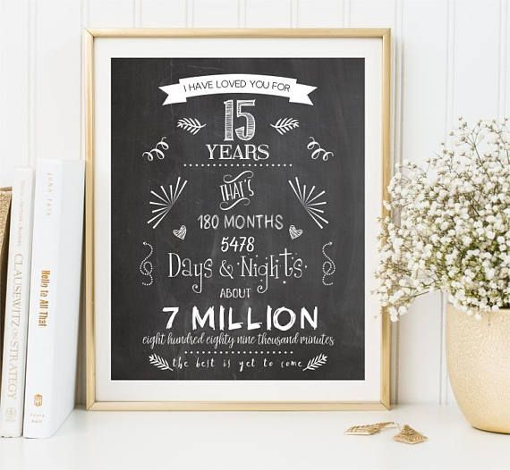 15th anniversary gift Chalkboard Print Love story sign