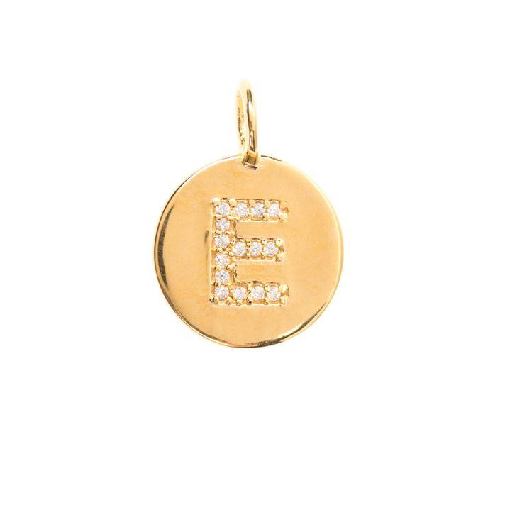 Gold initial 'E' disc