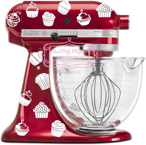 kitchen mixer vinyl decal set 40 piece cupcake decal set. Interior Design Ideas. Home Design Ideas