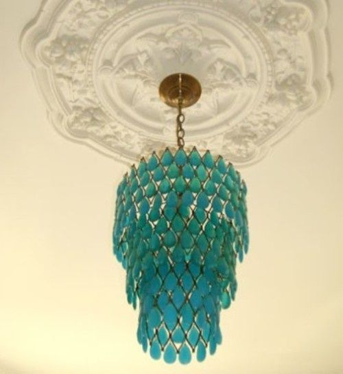 perfect ceiling medallion and turquoise chandelier love the medallion idea and love the color of the chandelier but not crazy of the chandelier - Turquoise Chandelier Light