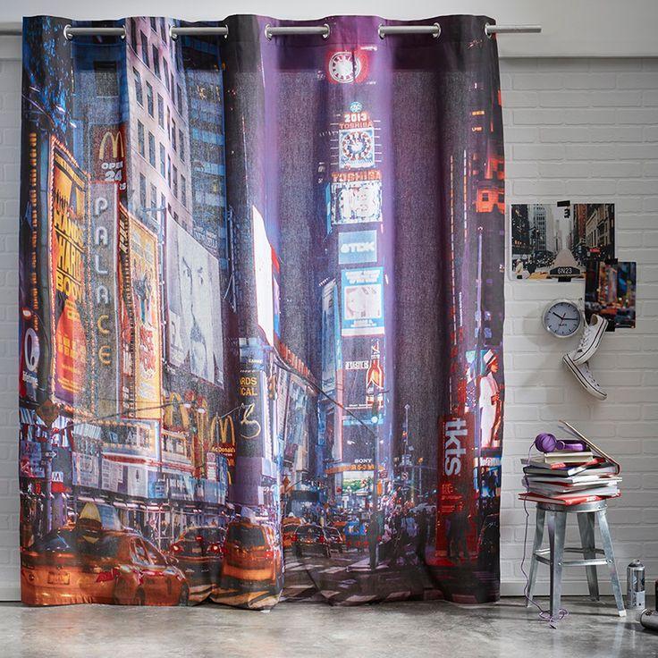 Rideau Poster à oeillets New-York broadway 240 x 240 cm - coton