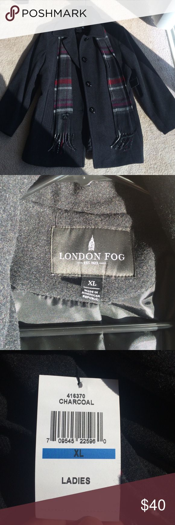 Women's peacoat Women's charcoal peacoat. London Fog. Never been worn. Tags still attached. Scarf included. Just in time for winter! ❄️☃ London Fog Jackets & Coats Pea Coats