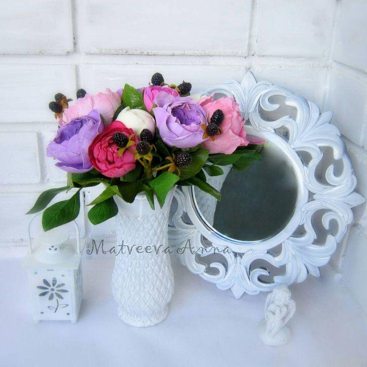 40 отметок «Нравится», 3 комментариев — Anna Matveeva (@annasnegm) в Instagram: «Бует из фоамирана. Пионы, пионовидные розы, ежевика, салал. Фоамиран иранский.…»