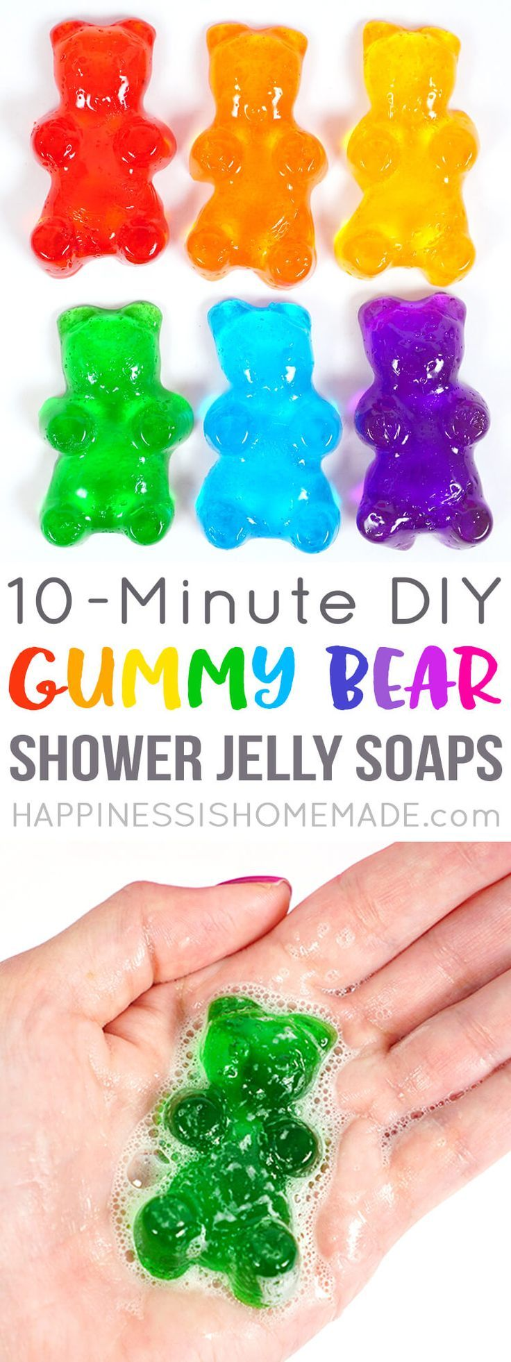 These quick and easy gummy bear shower jelly soaps make a great homemade gift idea! Make your own customized DIY Lush shower jellies in fun shapes, colors, and fragrances – just like these adorable rainbow gummy bear soaps!