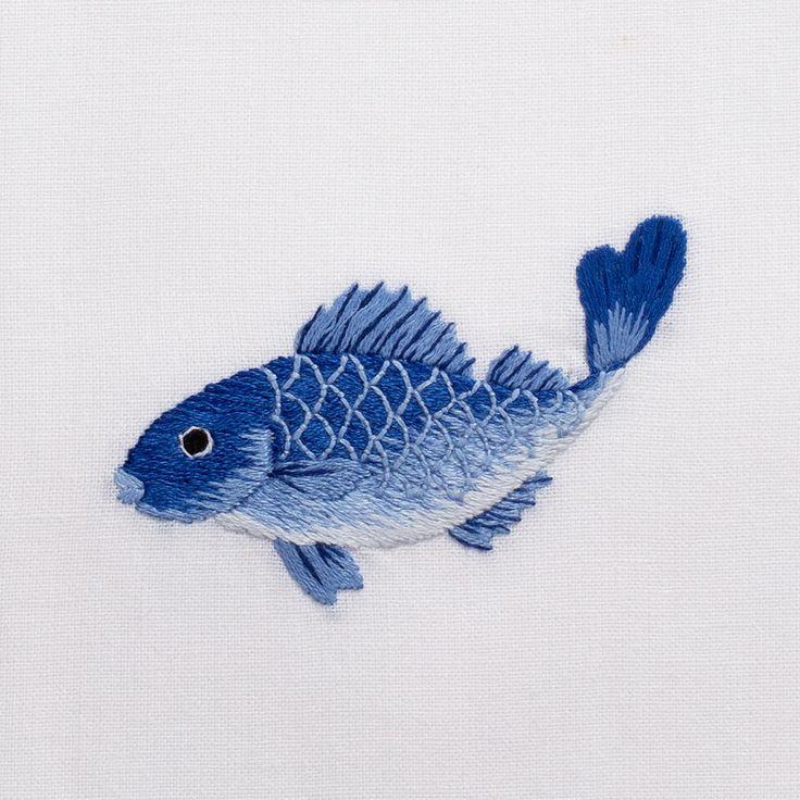 Fish Indigo<br>Hand Towel - White Cotton