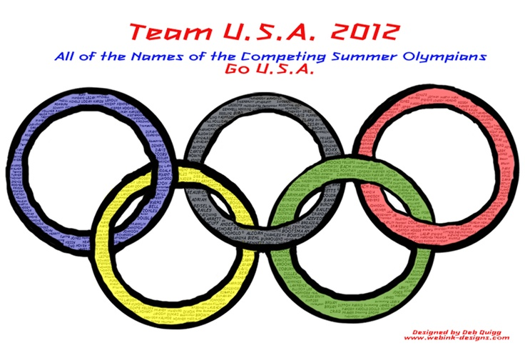 I designed this with all of the 2012 Olympian teams names within the rings of the Olympic Symbols.