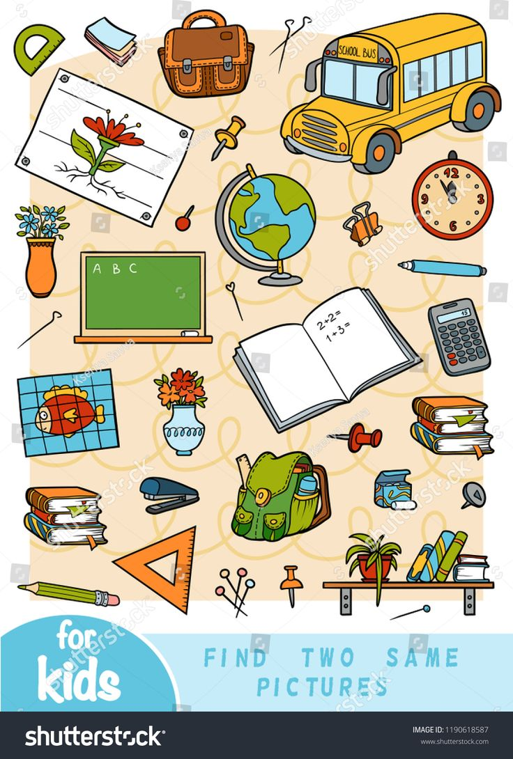 Find Two The Same Pictures Education Game For Children Color Set Of School Objects Ad Sponsored Edu Social Media Design Graphics Education Find Picture