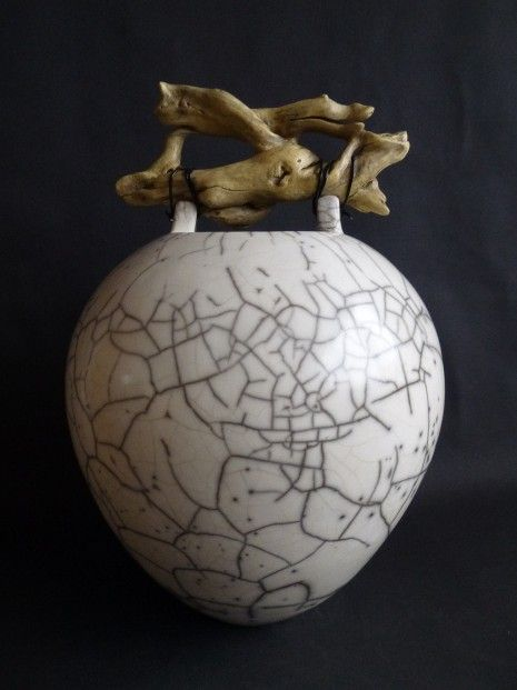 Anne Morrison Large Crackle Pot with Entwined Wood Raku ht-19ins   Scottish Contemporary Art