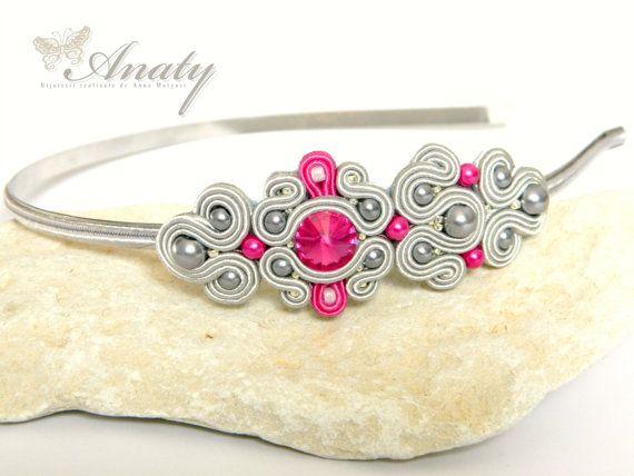 Fascia di soutache, Swarovski Crystal, caschetto grigio, fascia rosa, gioielli bardatura, archetto perla