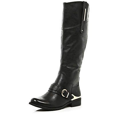 Black metal plated riding boots £60.00
