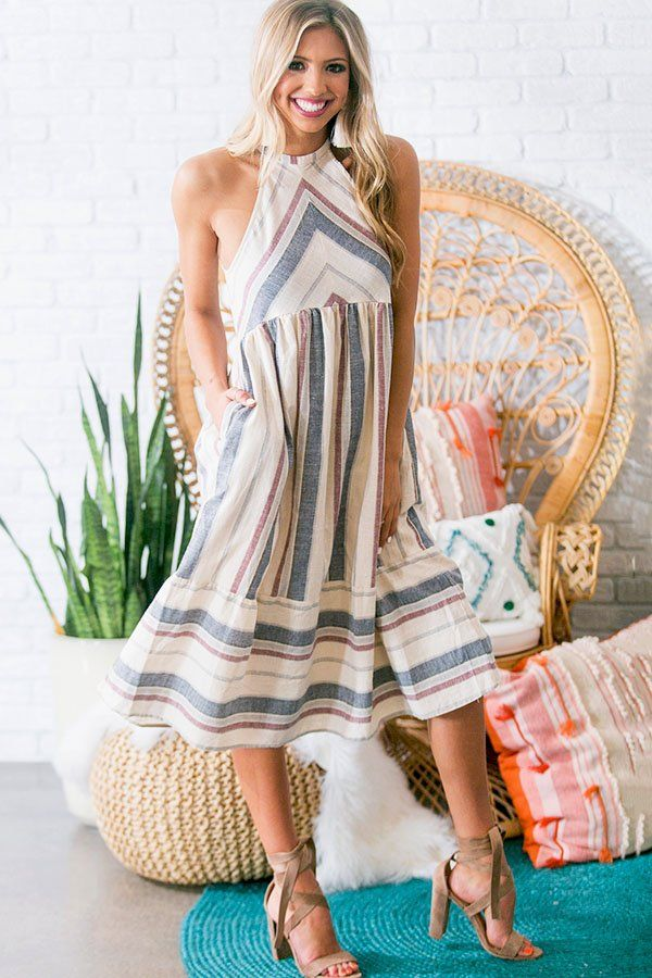 0d3a64d6f71f Nautical Breezy Midi Dress- 49 Get ready for the beach in this ...