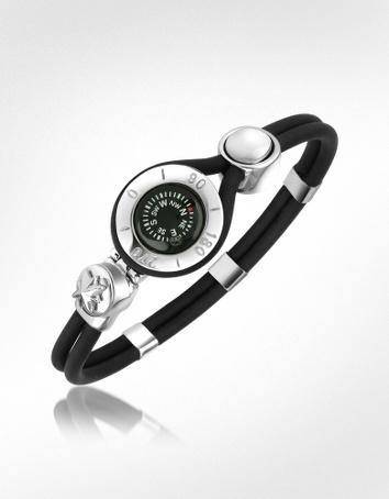 Forzieri Armband aus Kautschuk mit Kompass