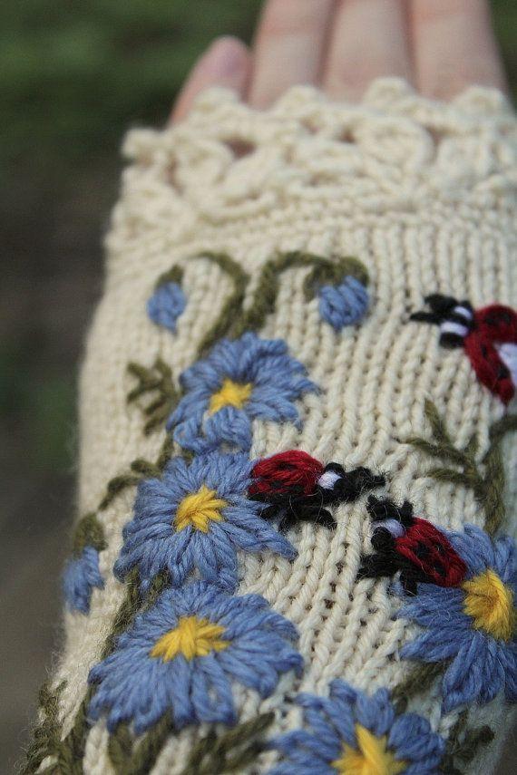 Knitted Fingerless Gloves Ladybird Gloves & от nbGlovesAndMittens