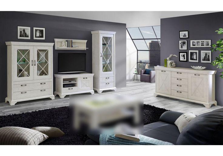 77-00848 Wohnzimmer-Set in Pinie Weiss mit LED-Beleuchtung