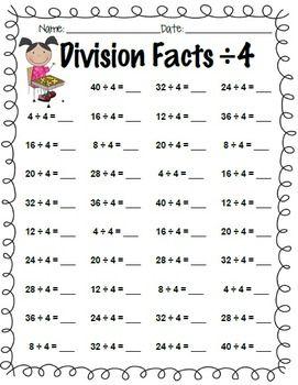 Division facts worksheet 1 12