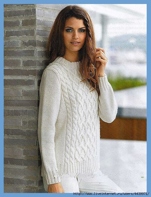 Озорные петельки: Женский/мужской пуловер с рельефным узором