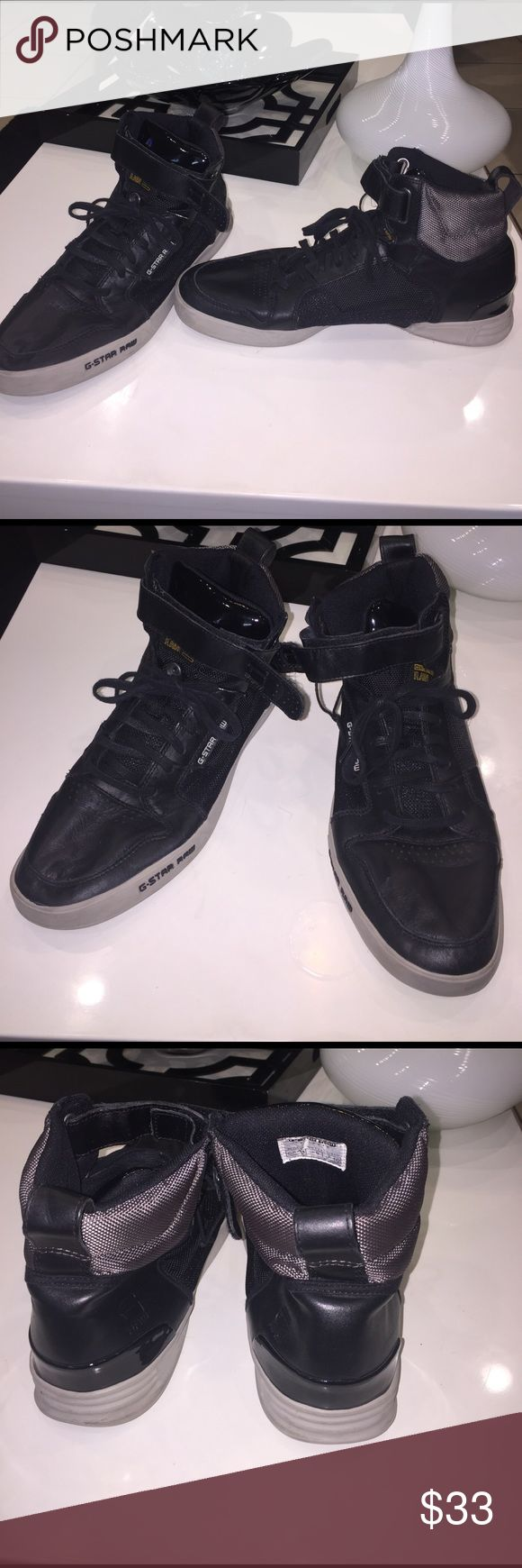 Black/Gray High-Top Sneakers 10: G-Star Raw Good condition. No flaw. Usual wear. G-Star Shoes Sneakers