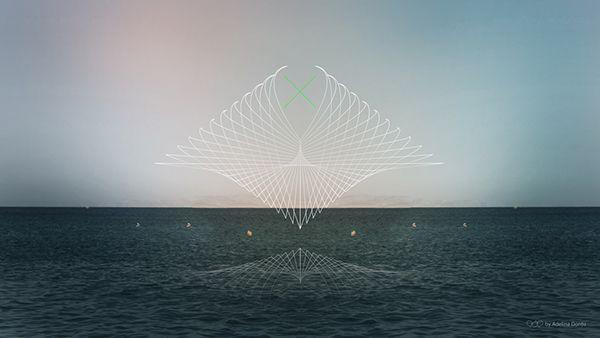 Abstract wallpaper. Surreal, geometry, vector, sea, mirror, endless, horizon