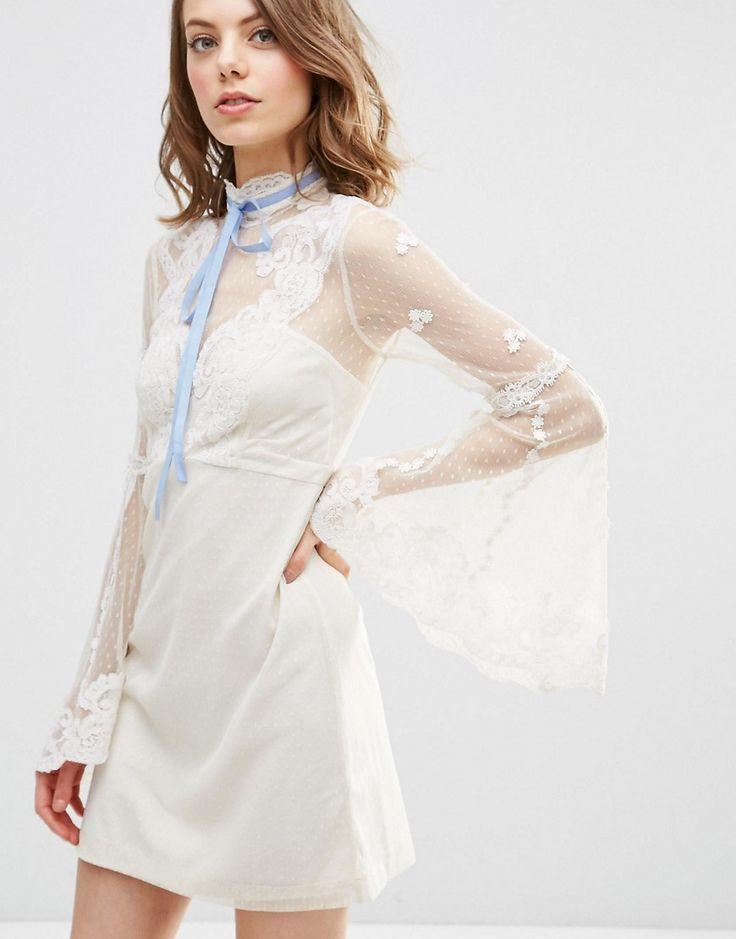Image 1 - ASOS - Edwardian - Robe courte babydoll à encolure montante