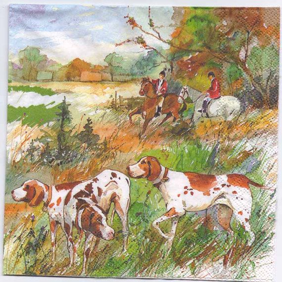 4 Decoupage Napkins  Water Color of a Fox Hunt w/Horses Dogs