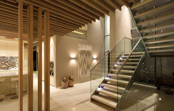 Stylish Open Staircase With Wooden Elements