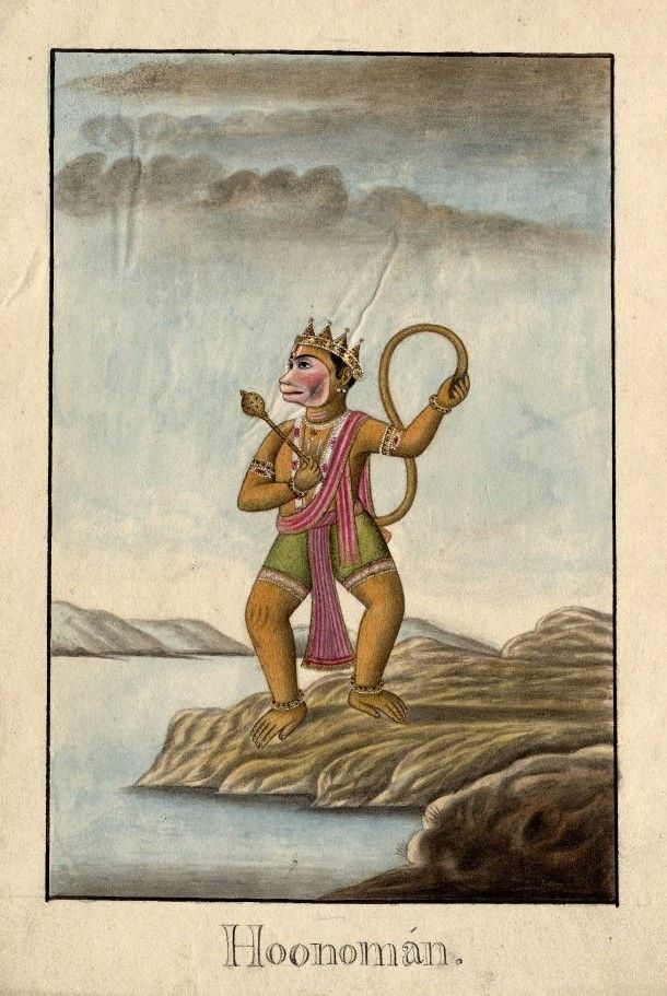 Hanumān stands on the banks of a body of water. He wears green shorts and has a pink shawl draped over his shoulder and chest. He wears a crown and jewel encrusted armlets. On his chest rests a floral garland and necklaces. He holds a mace in his right hand and the tip of his tail in his left hand. Company School, Patna, early 19th cent.